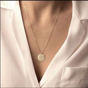 Gold Circular Disc Necklace